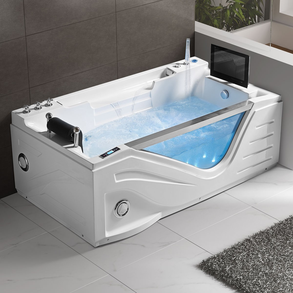 75 In Air Bubble Whirlpool Tub with Computer Control and Light (DK ...