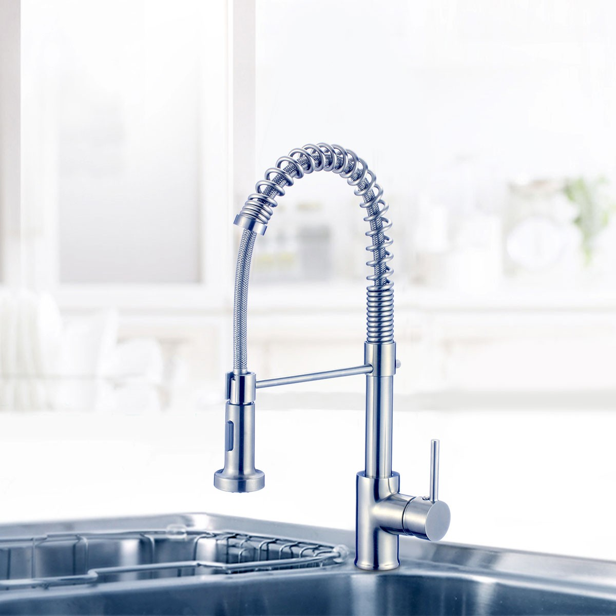Chrome Finished Brass Spring Kitchen Faucet - Pull Out Spray Head ...
