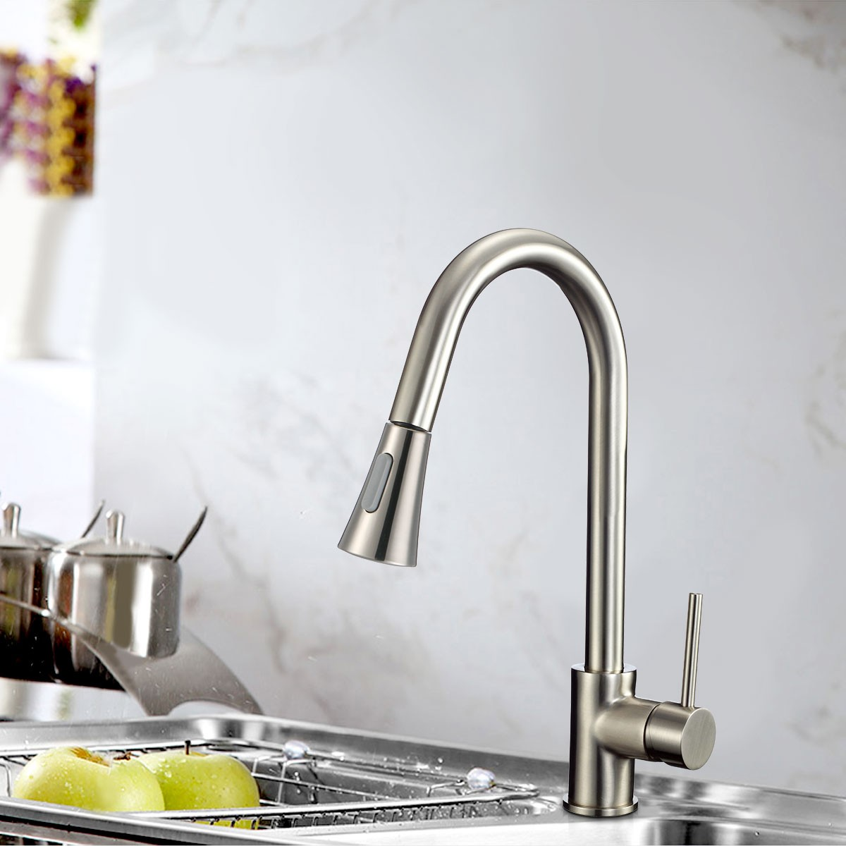 Brushed Nickel Finished Brass Kitchen Faucet - Pull Out Spray Head ...