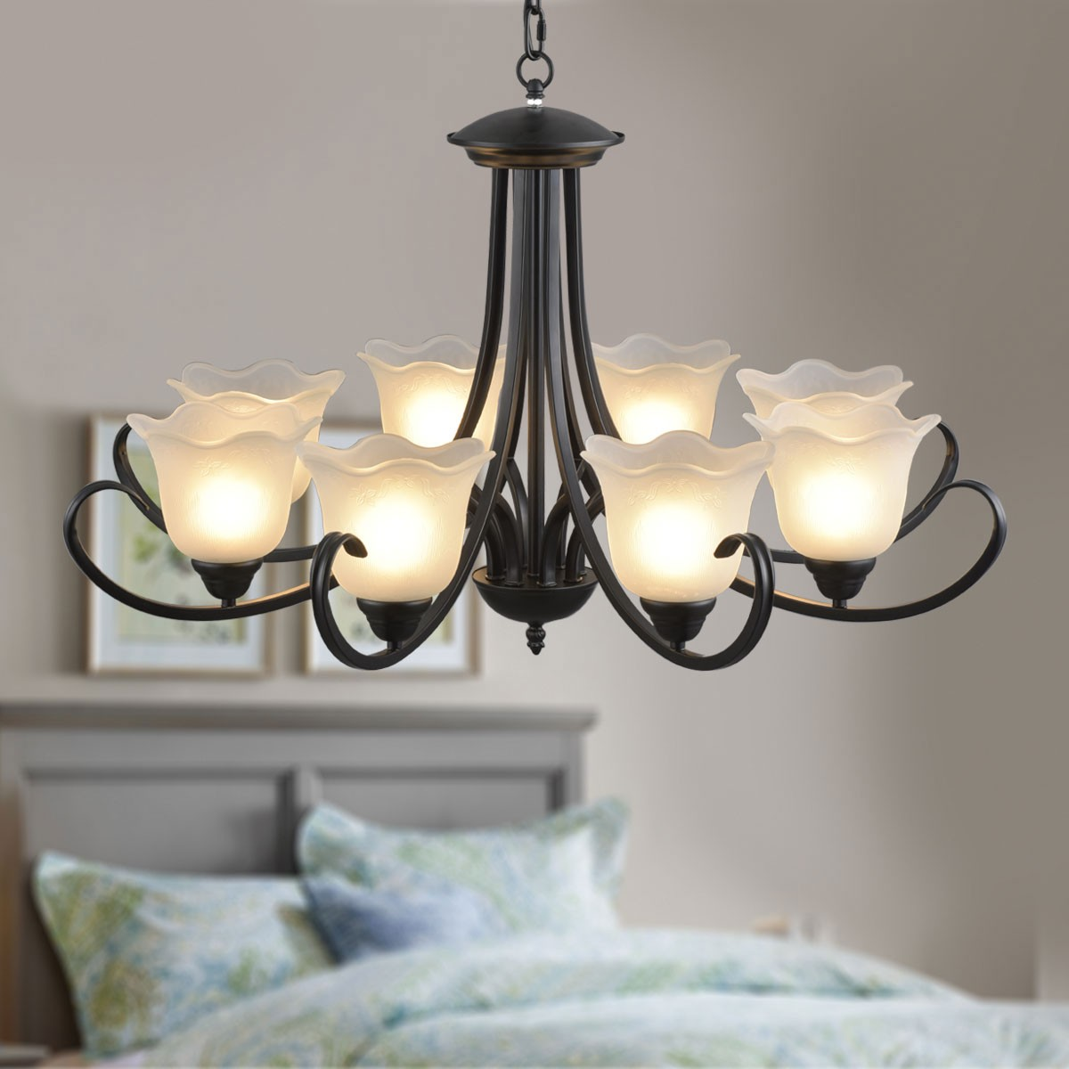 8 Light Black Wrought Iron Chandelier With Gl Shades Dk 8019
