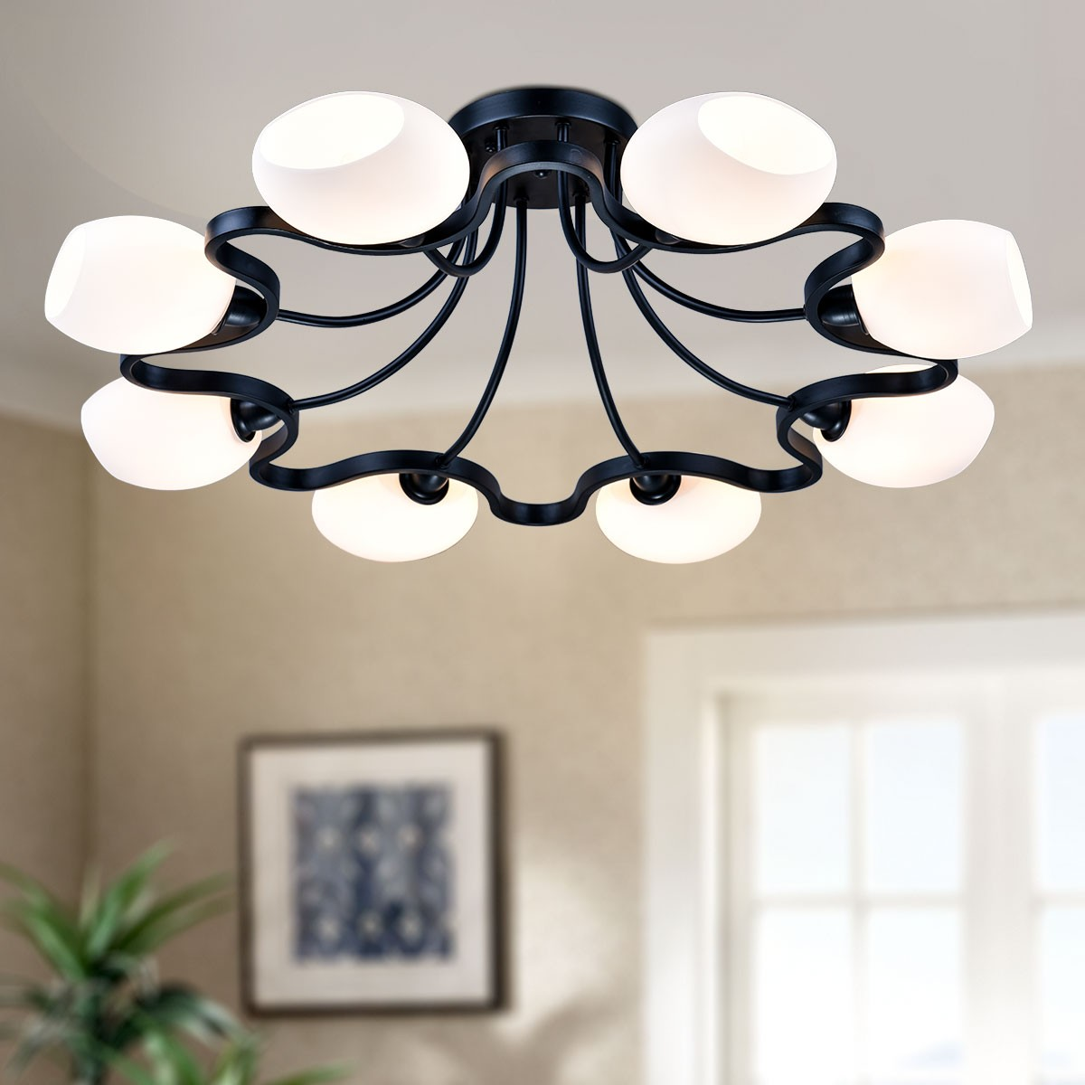 8 Light Black Wrought Iron Chandelier With Gl Shades Dk 1041
