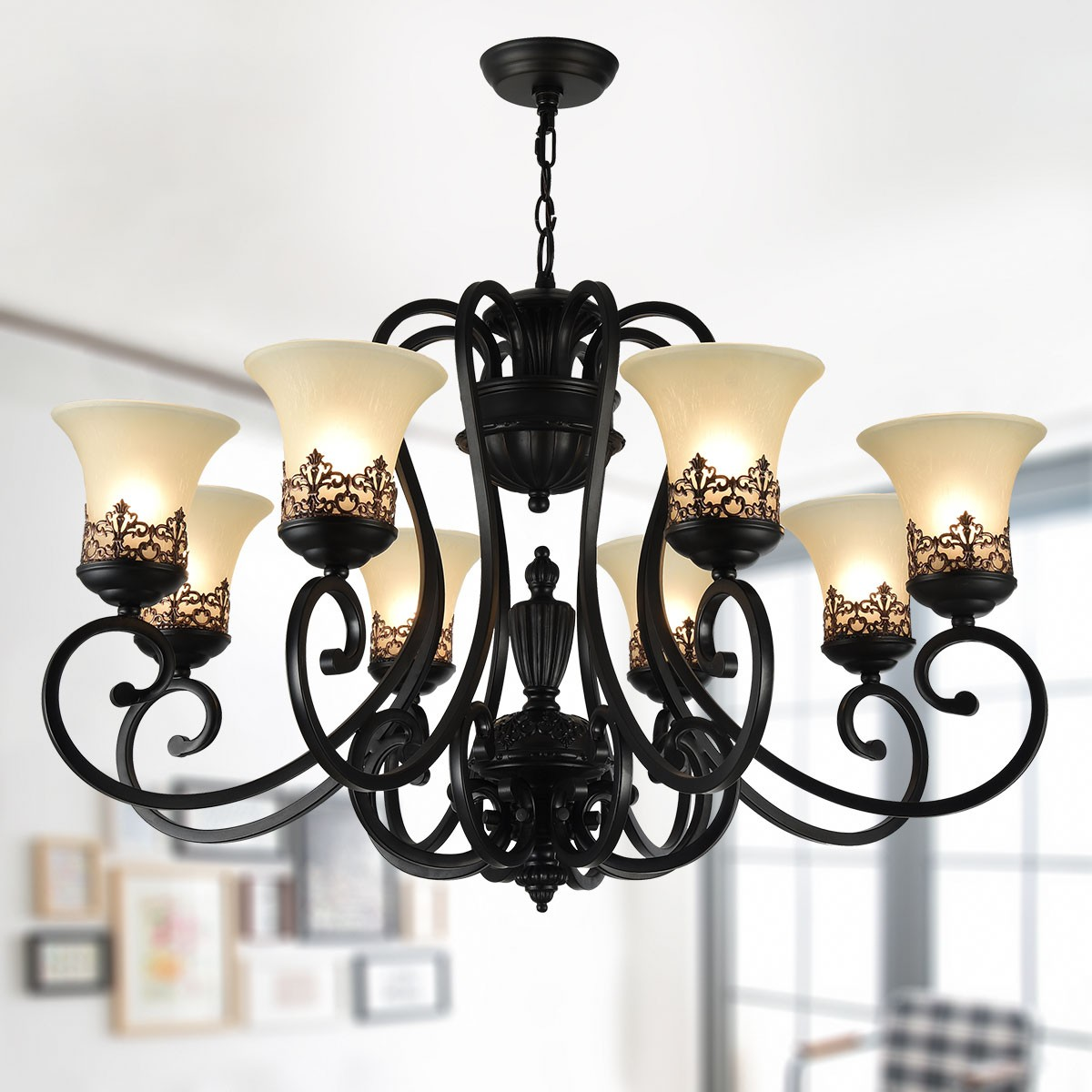 8 Light Black Wrought Iron Chandelier With Gl Shades Dk 6318 8s