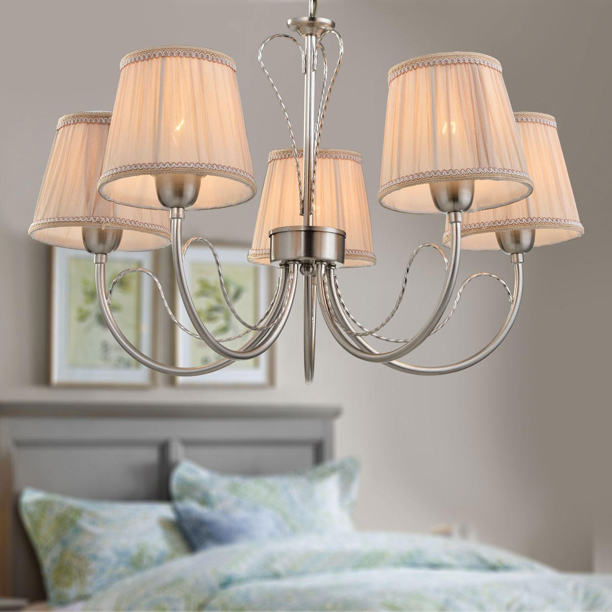 5 Light Silver Iron Modern Chandelier With Fabric Shades Hkp31263