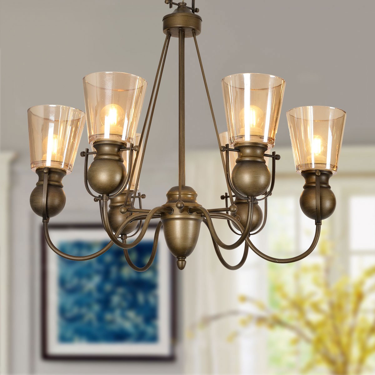 6 Light Copper Iron Modern Chandelier With Glass Shades Hkp31252