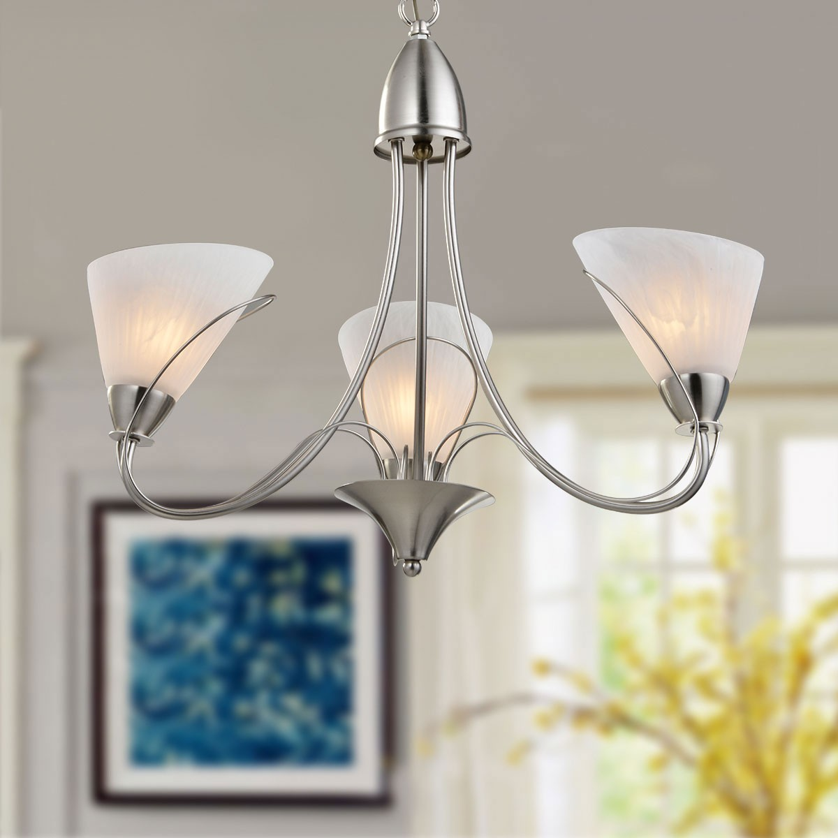 3-Light Silver Iron Modern Chandelier with Glass Shades (HKP31262-3)