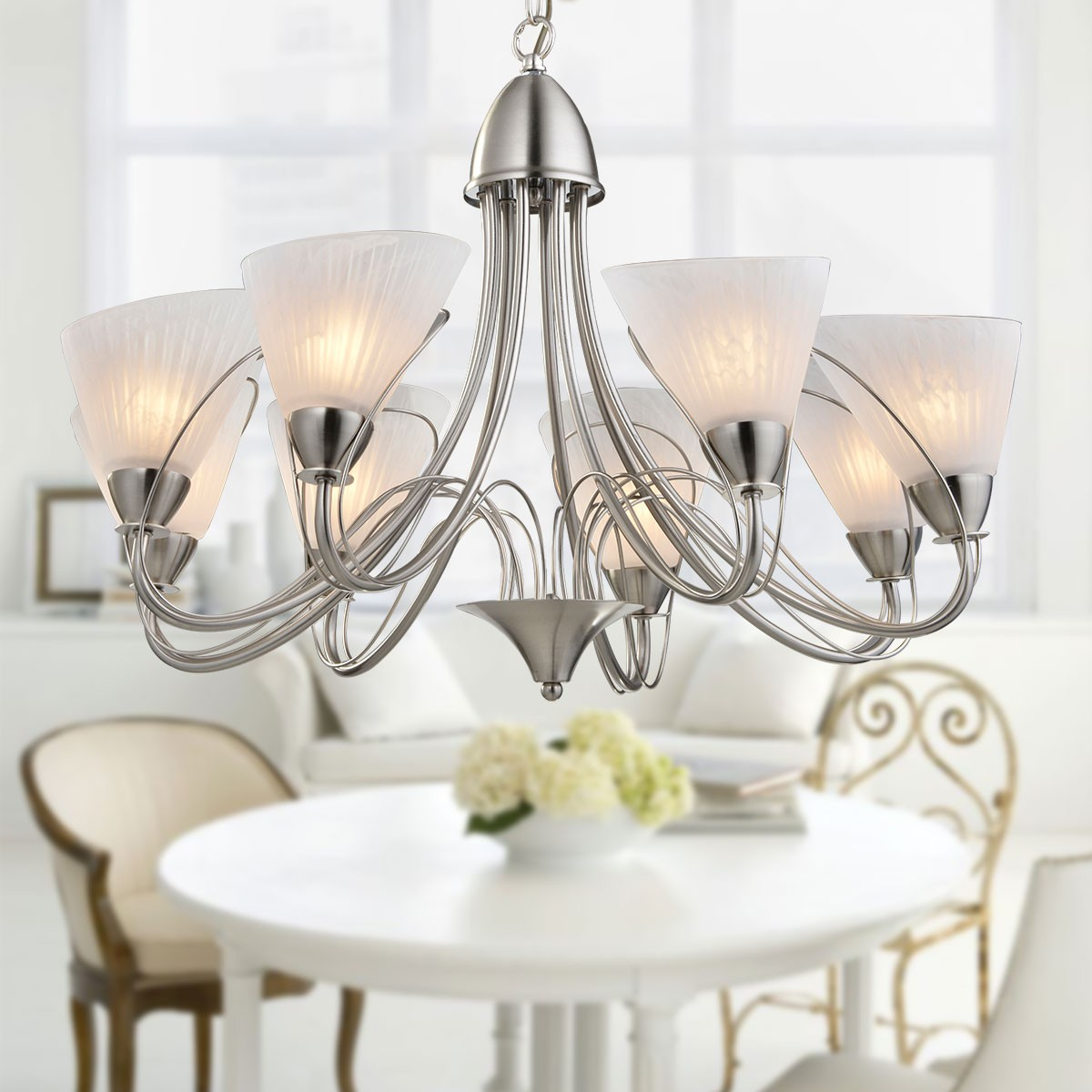 8 Light Silver Iron Modern Chandelier With Glass Shades Hkp31262