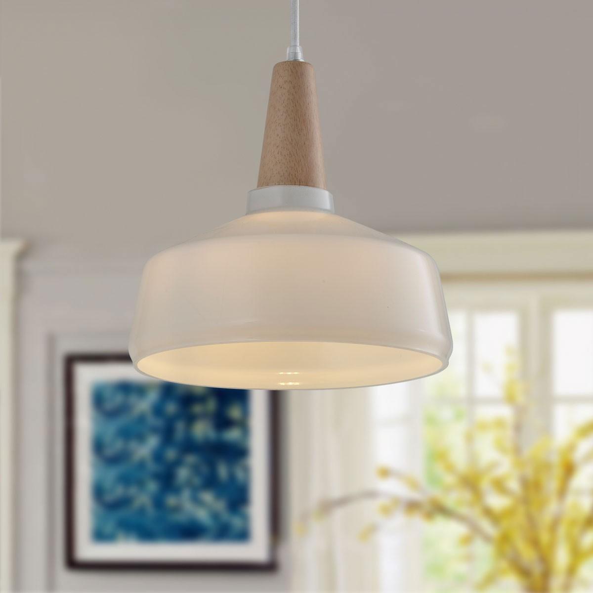1 light white wood glass modern pendant light kp10512 1a for Modern white pendant lighting