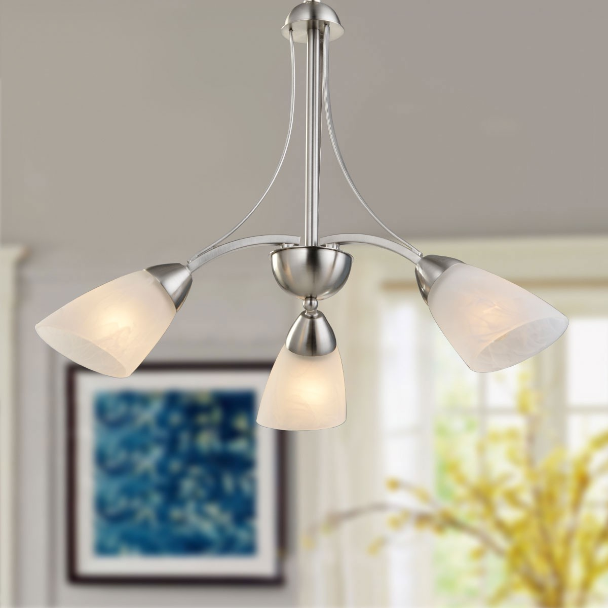 3-Light Silver Iron Modern Chandelier with Glass Shades (HKP31270-3)