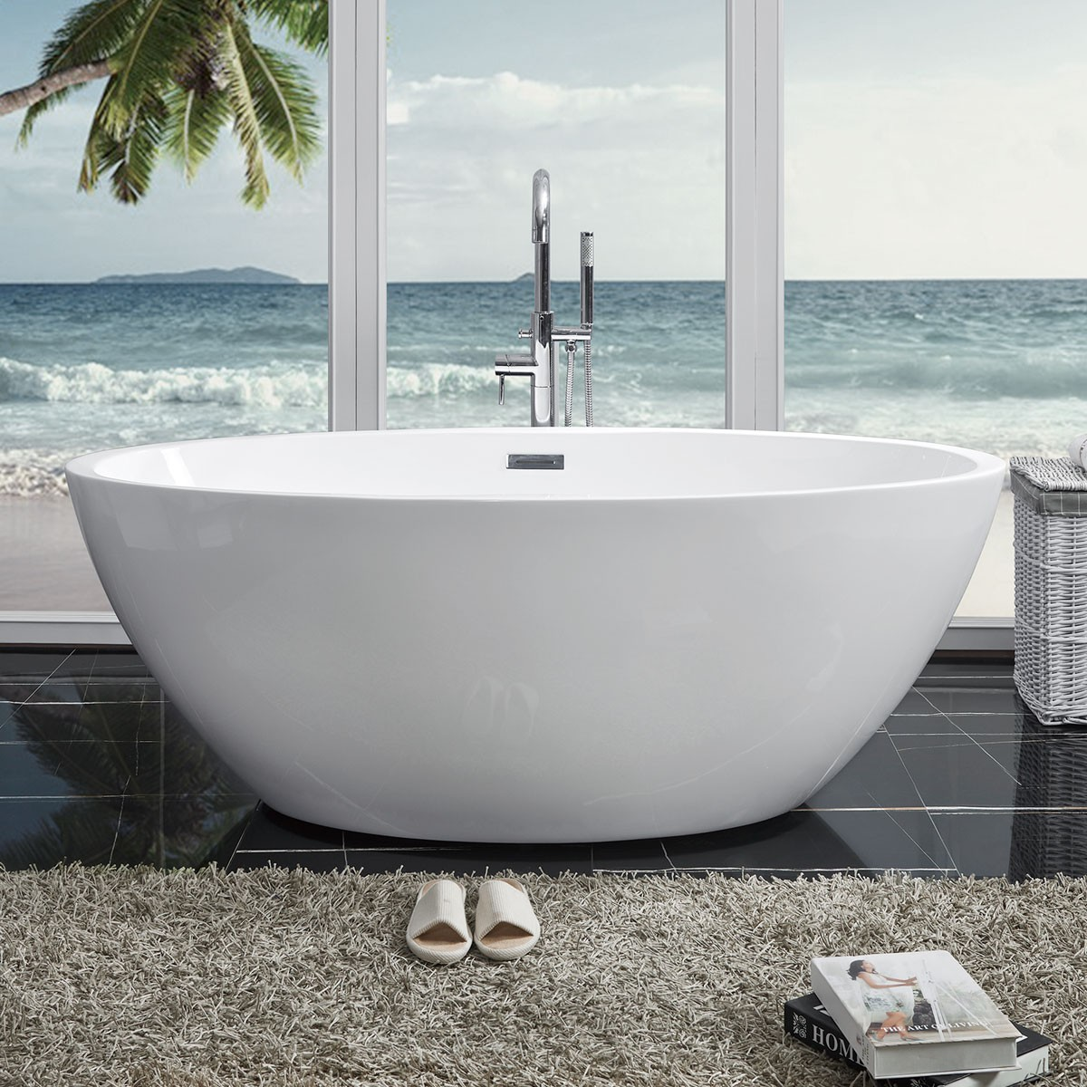 BATHPRO 59 In Freestanding Bathtub - Acrylic Pure White (DK-PW-81572)