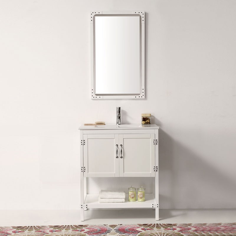Minimalist 30 In Freestanding Bathroom Vanity Set with Mirror DK 5930 W Top Design - Luxury stand alone bathroom cabinets Minimalist