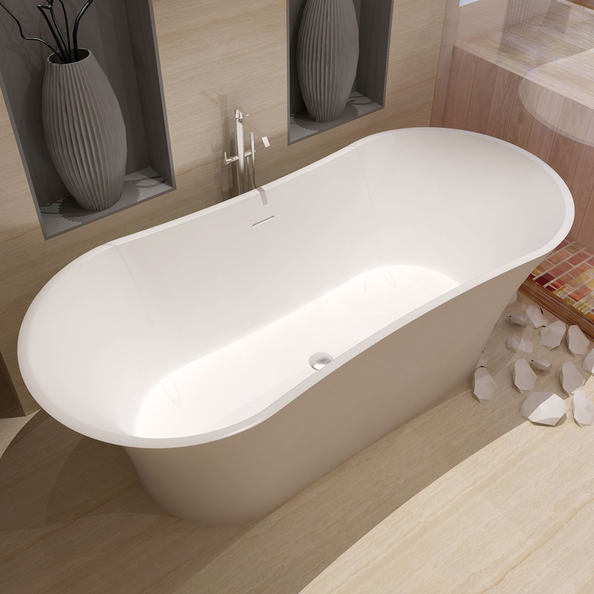 64 In Double Slipper Synthetic Stone Freestanding Bathtub - Matte White (DK-HA8601)