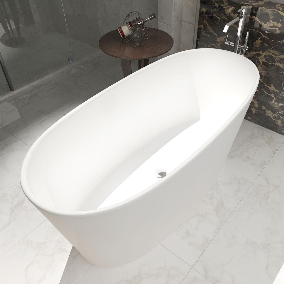 62 In Oval Synthetic Stone Freestanding Bathtub – Matte White (DK-HA8602)