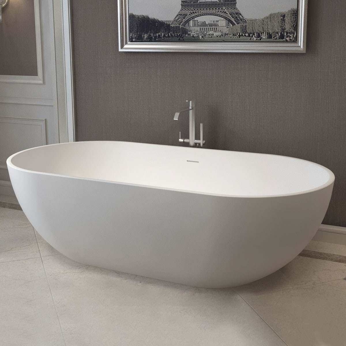 70 In Oval Synthetic Stone Freestanding Bathtub - Matte White (DK-HA8619)