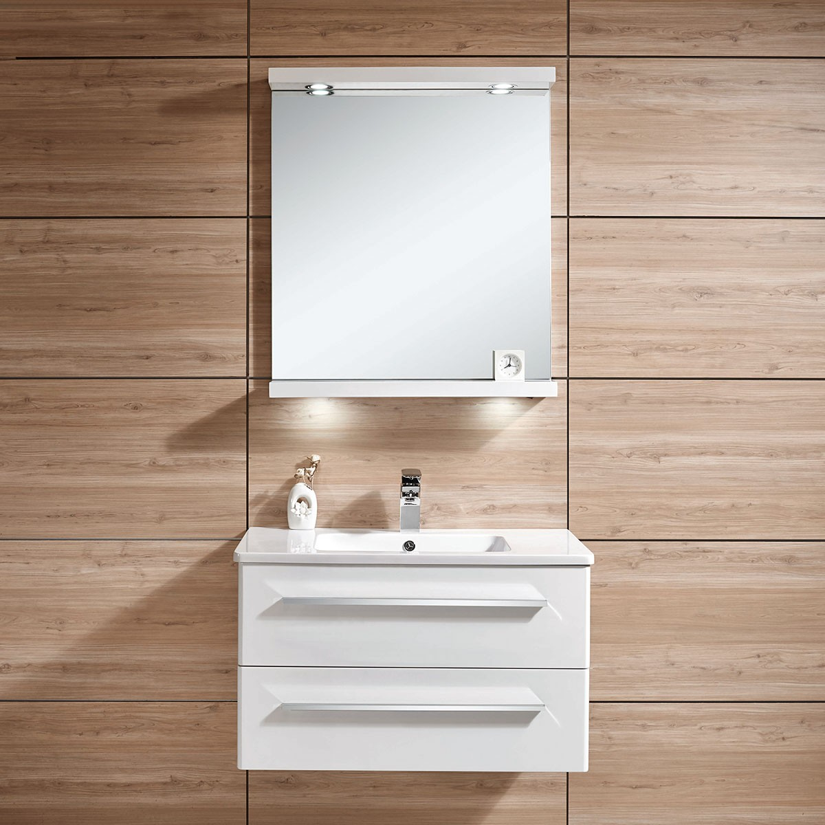 31 In. Wall Mount Bathroom Vanity Set with Mirror and Lamp (DK ...