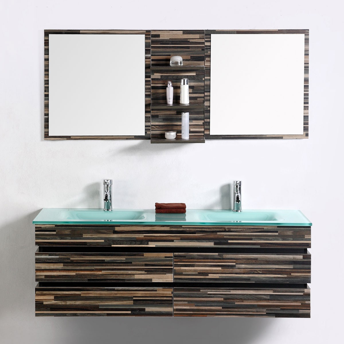 55 In. Wall Mount Bathroom Vanity Set With Double Glass Sink and ...