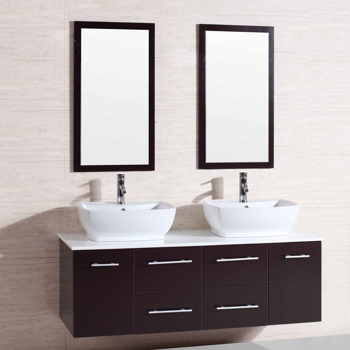 60 In. Wall Mount Bathroom Vanity Set with Double Sinks and Mirrors ...
