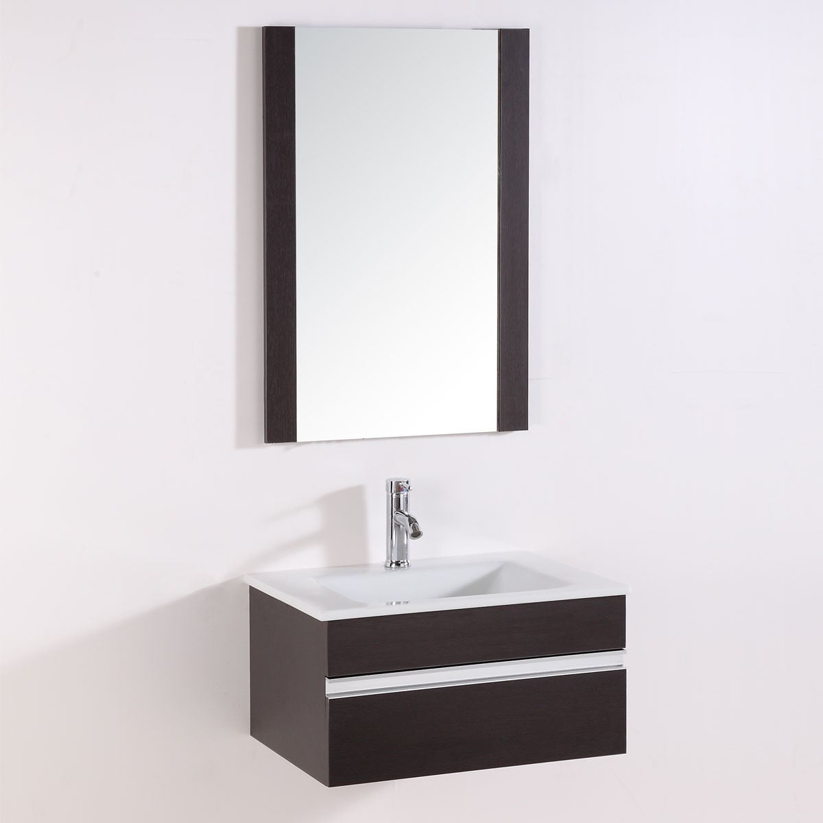 24 In. Wall-Mount Bathroom Vanity Set with Single Sink and Mirror ...