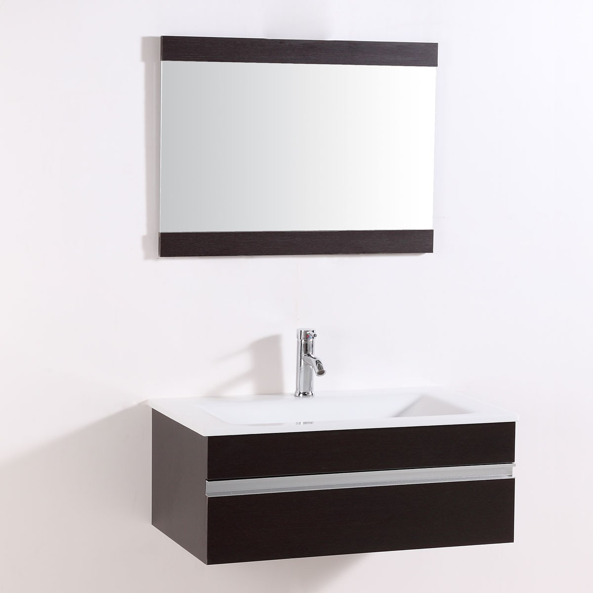 32 In. Wall Mount Bathroom Vanity Set with Single Sink and Mirror ...