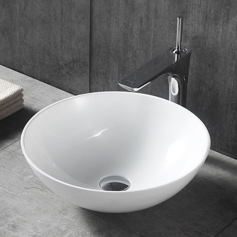 Matte White Round Ceramic Above Counter Basin (CL-1344YD)