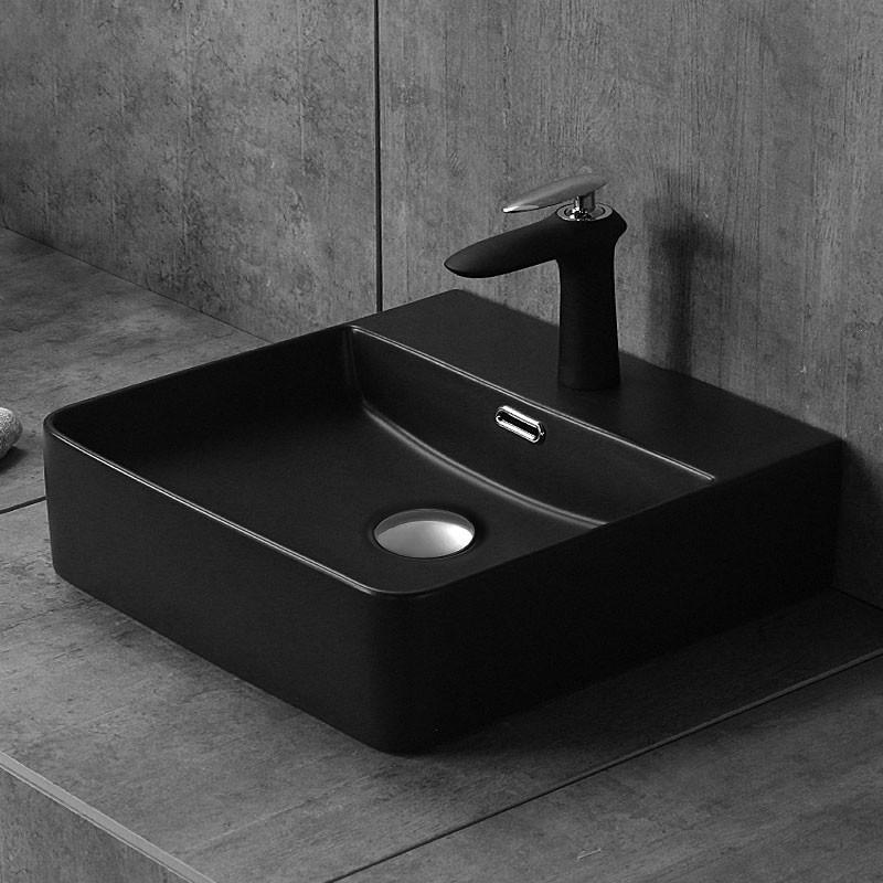 Grey Charcoal Rectangle Ceramic Above Counter Basin (CL-1275YA)