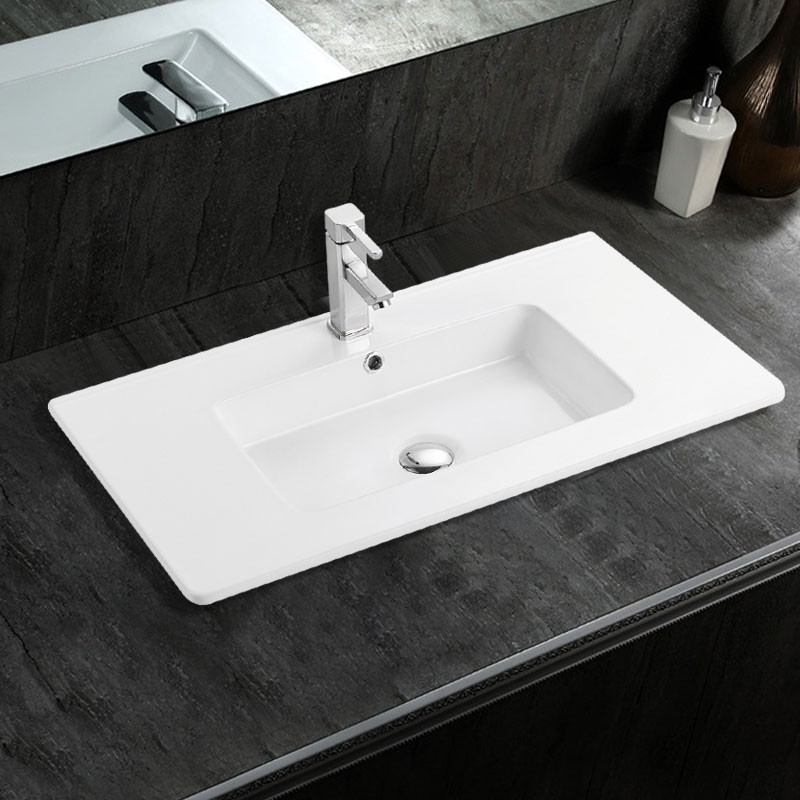 White Rectangle Ceramic Bathroom Vanity Basin (CL-4103-100)