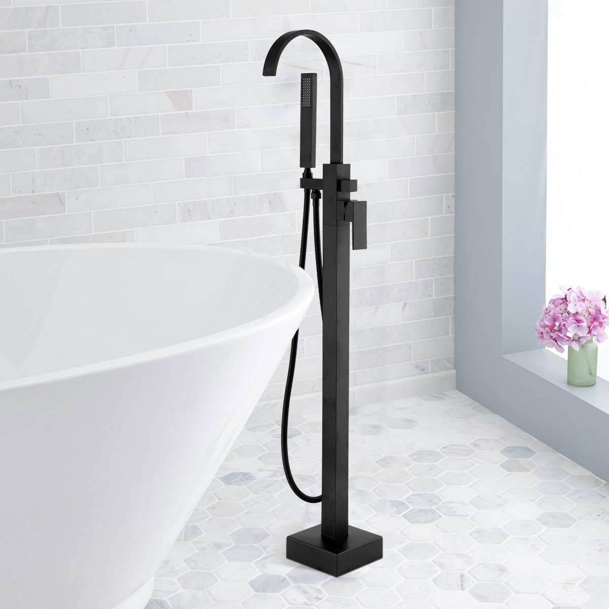 Freestanding Bathtub Faucet   Brass With Matte Black Finish (YDL 9111B)