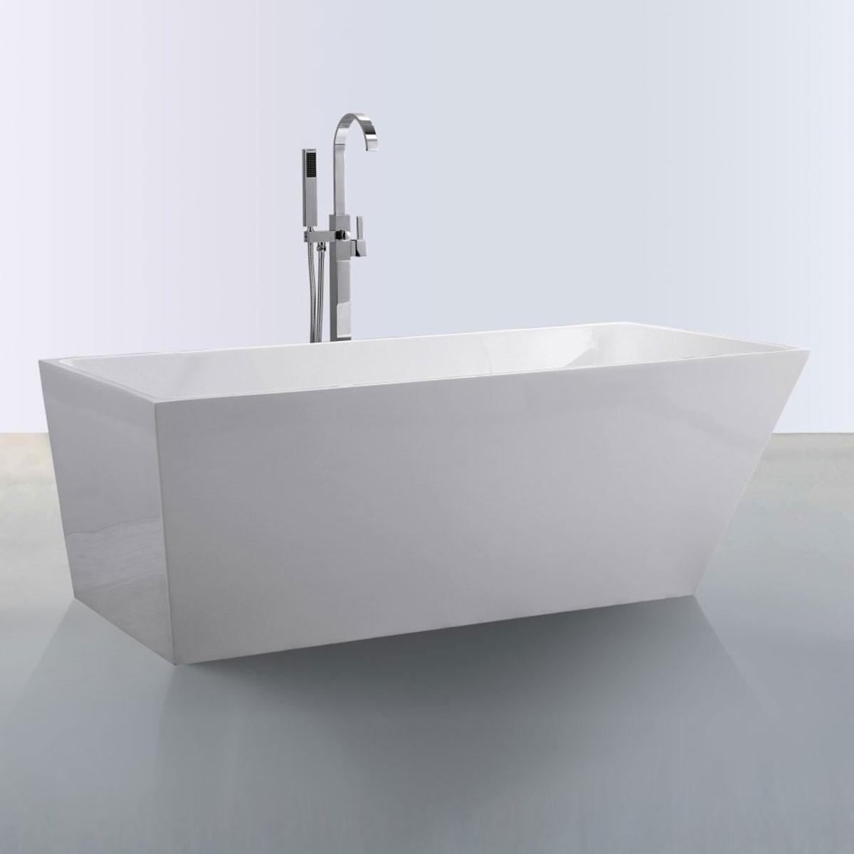 59 In Freestanding Bathtub - Acrylic White (DK-SLD-YG870-15)