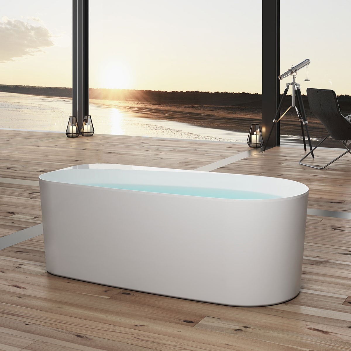 BATHPRO 59 In High-end Freestanding Bathtub - Acrylic Matte White (DK-MF-115573)