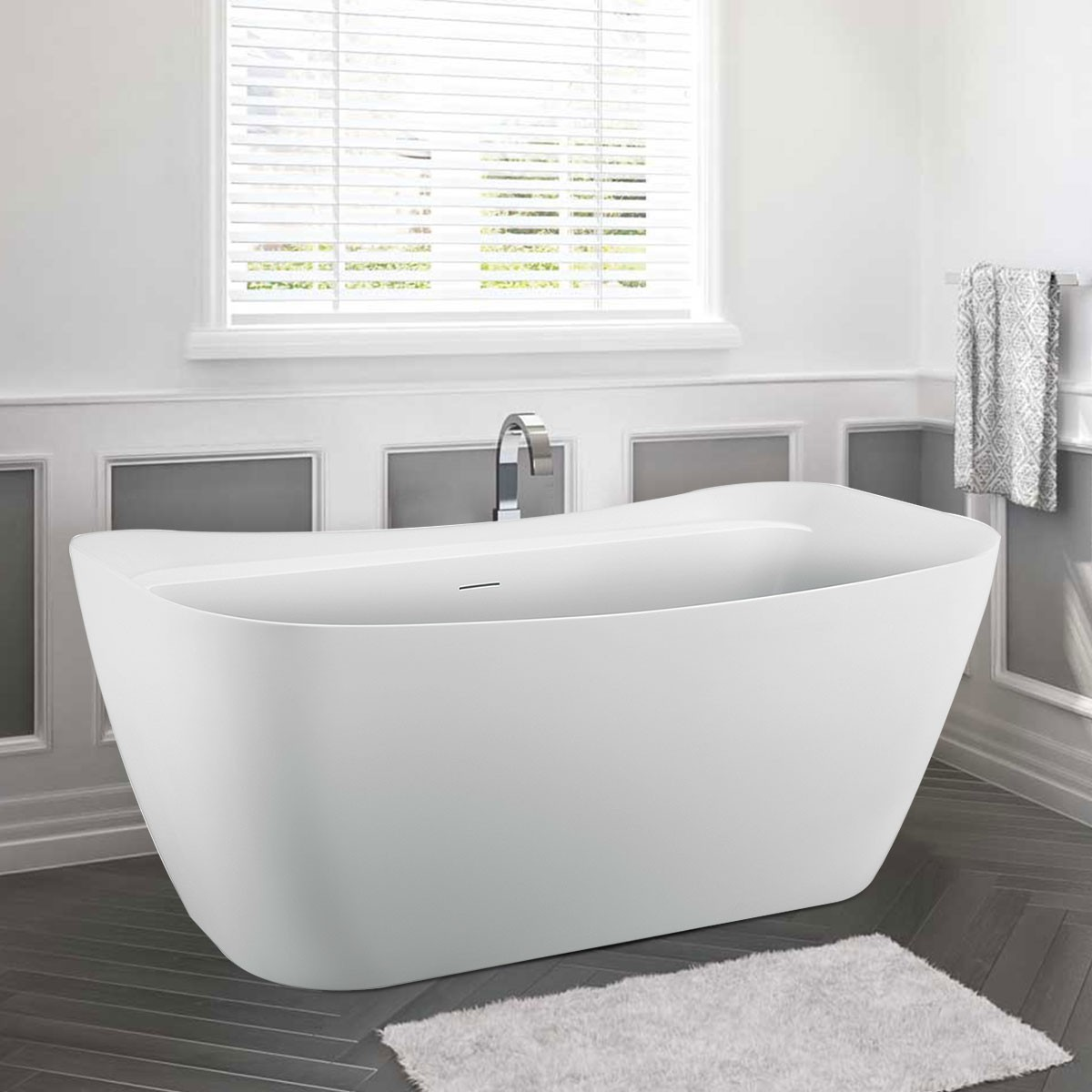 BATHPRO 59 In High-end Freestanding Bathtub - Acrylic Matte White (DK-MF-97578)