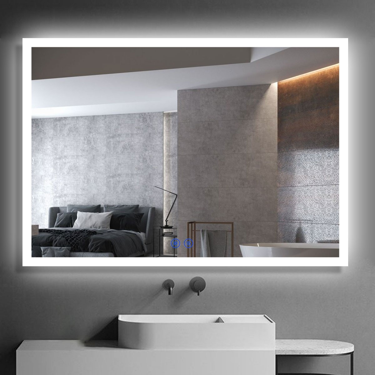 DECORAPORT 40 x 28 Inch LED Bathroom Mirror/Dress Mirror with Touch Button, Anti Fog, Dimmable, Vertical & Horizontal Mount (NT10-4028)