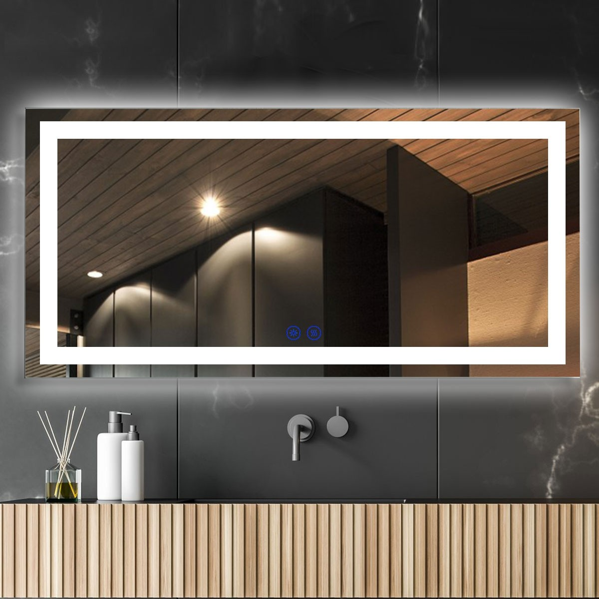 DECORAPORT 84 x 40 Inch LED Bathroom Mirror/Dress Mirror with Touch Button, Anti Fog, Dimmable, Vertical & Horizontal Mount (CT01-8440)
