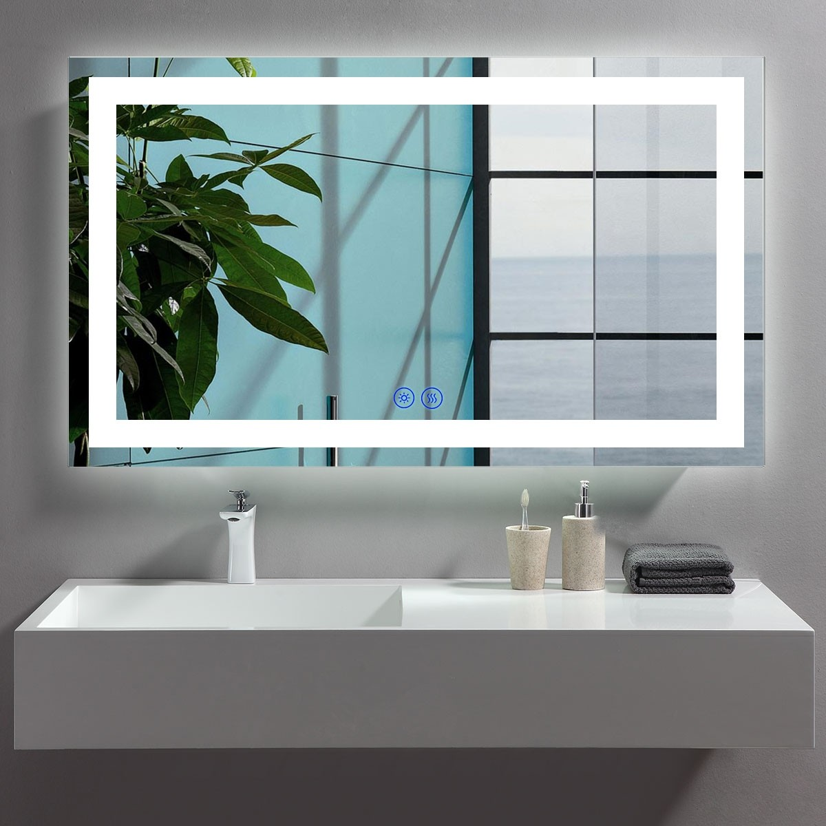 DECORAPORT 48 x 28 Inch LED Bathroom Mirror/Dress Mirror with Touch Button, Anti Fog, Dimmable, Vertical & Horizontal Mount (CT08-4828)