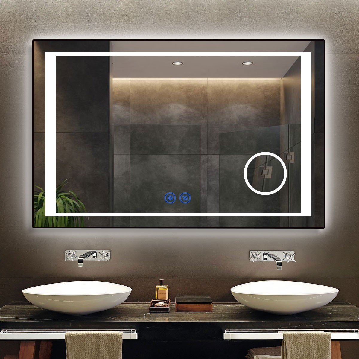 DECORAPORT 55 x 36 Inch LED Bathroom Mirror/Dress Mirror with Touch Button, Magnifier, Anti Fog, Dimmable, Vertical & Horizontal Mount (KT05-5536)