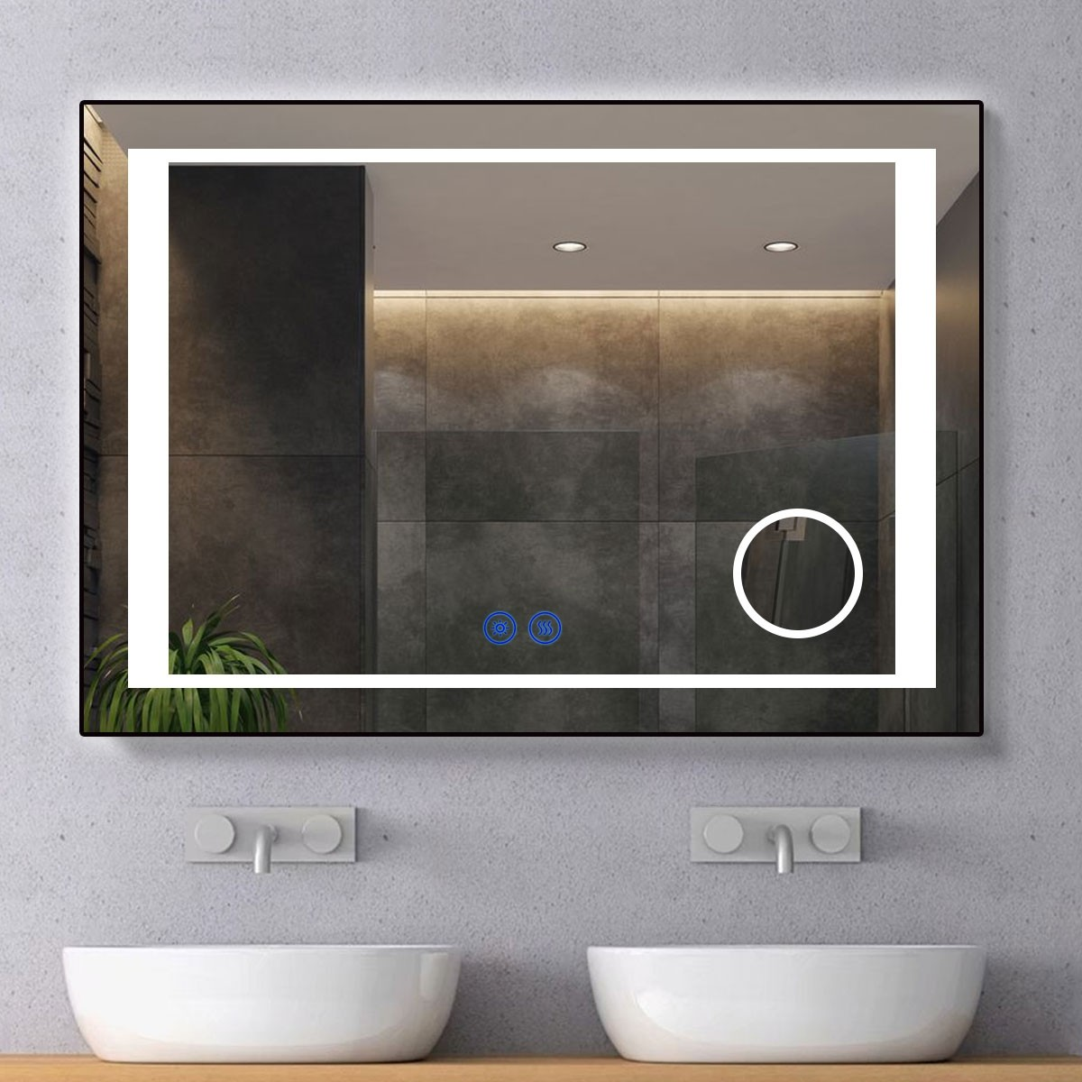 DECORAPORT 40 x 28 Inch LED Bathroom Mirror/Dress Mirror with Touch Button, Magnifier, Anti Fog, Dimmable, Vertical & Horizontal Mount (KT10-4028)