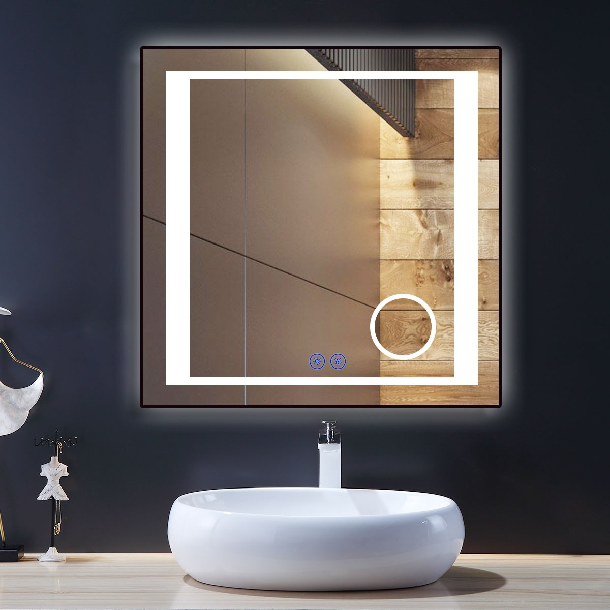 DECORAPORT 36 x 36 Inch LED Bathroom Mirror/Dress Mirror with Touch Button, Magnifier, Anti Fog, Dimmable, Vertical & Horizontal Mount (KT12-3636)