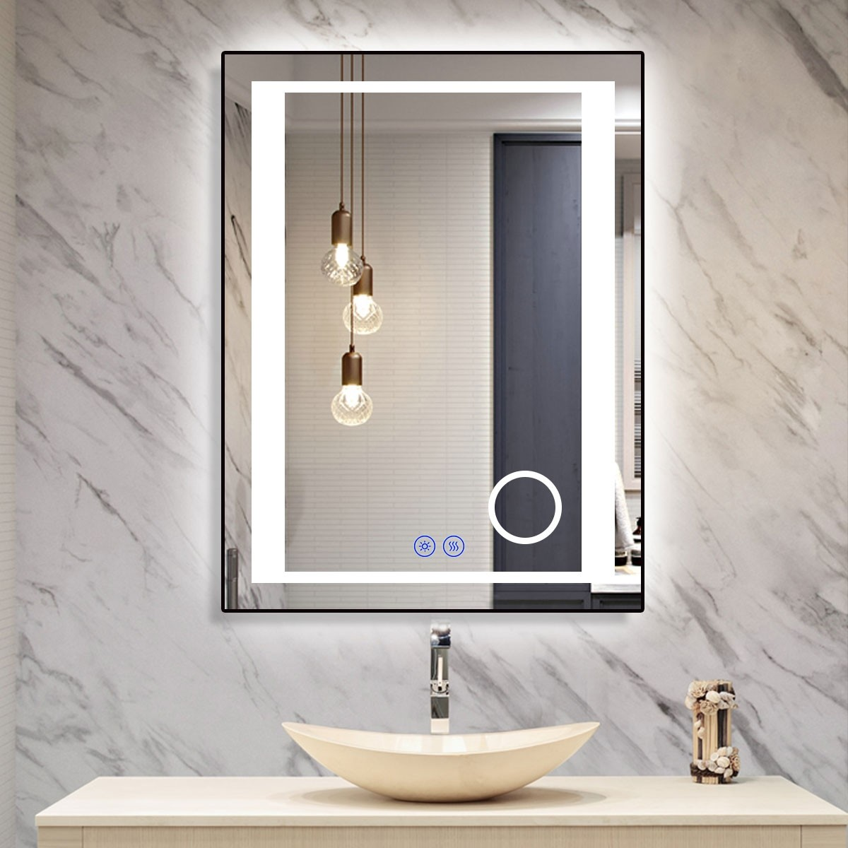 DECORAPORT 24 x 32 Inch LED Bathroom Mirror/Dress Mirror with Touch Button, Magnifier, Anti Fog, Dimmable, Vertical & Horizontal Mount (KT15-2432)