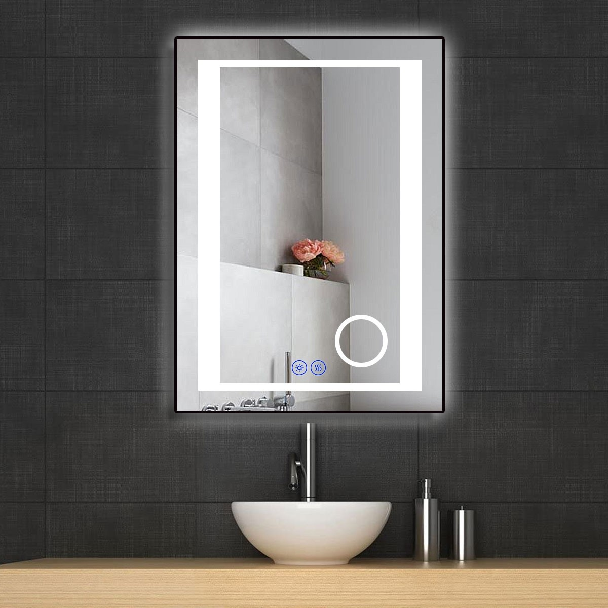 DECORAPORT 20 x 28 Inch LED Bathroom Mirror/Dress Mirror with Touch Button, Magnifier, Anti Fog, Dimmable, Vertical & Horizontal Mount (KT16-2028)
