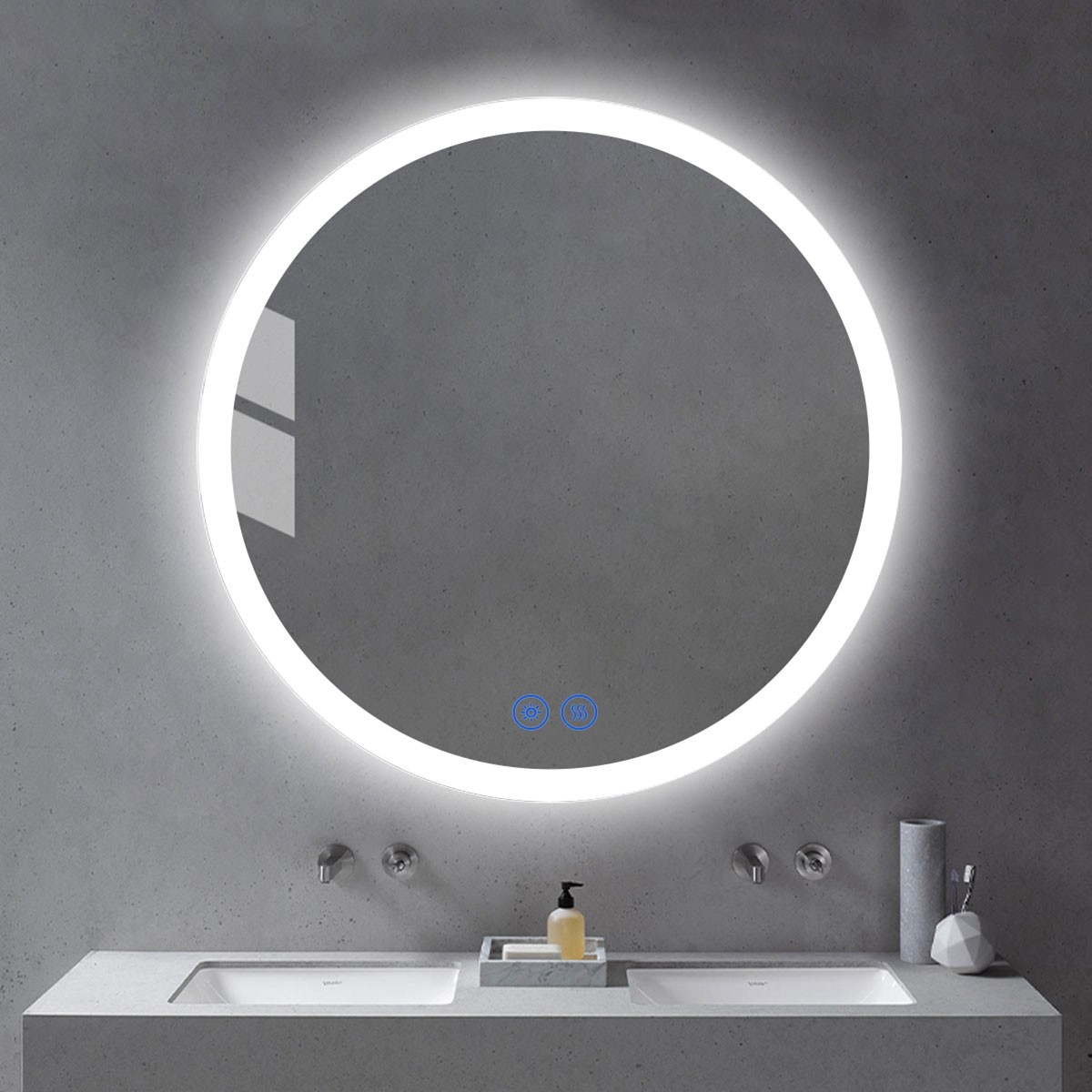DECORAPORT 36 x 36 Inch LED Bathroom Mirror/Dress Mirror with Touch Button, Anti Fog, Dimmable, Vertical Mount (YT04-3636)