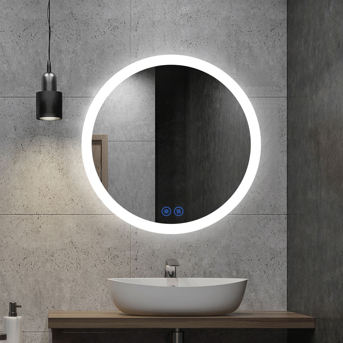 DECORAPORT 32 x 32 Inch LED Bathroom Mirror/Dress Mirror with Touch Button, Anti Fog, Dimmable, Vertical Mount (CL065-3232-TS)