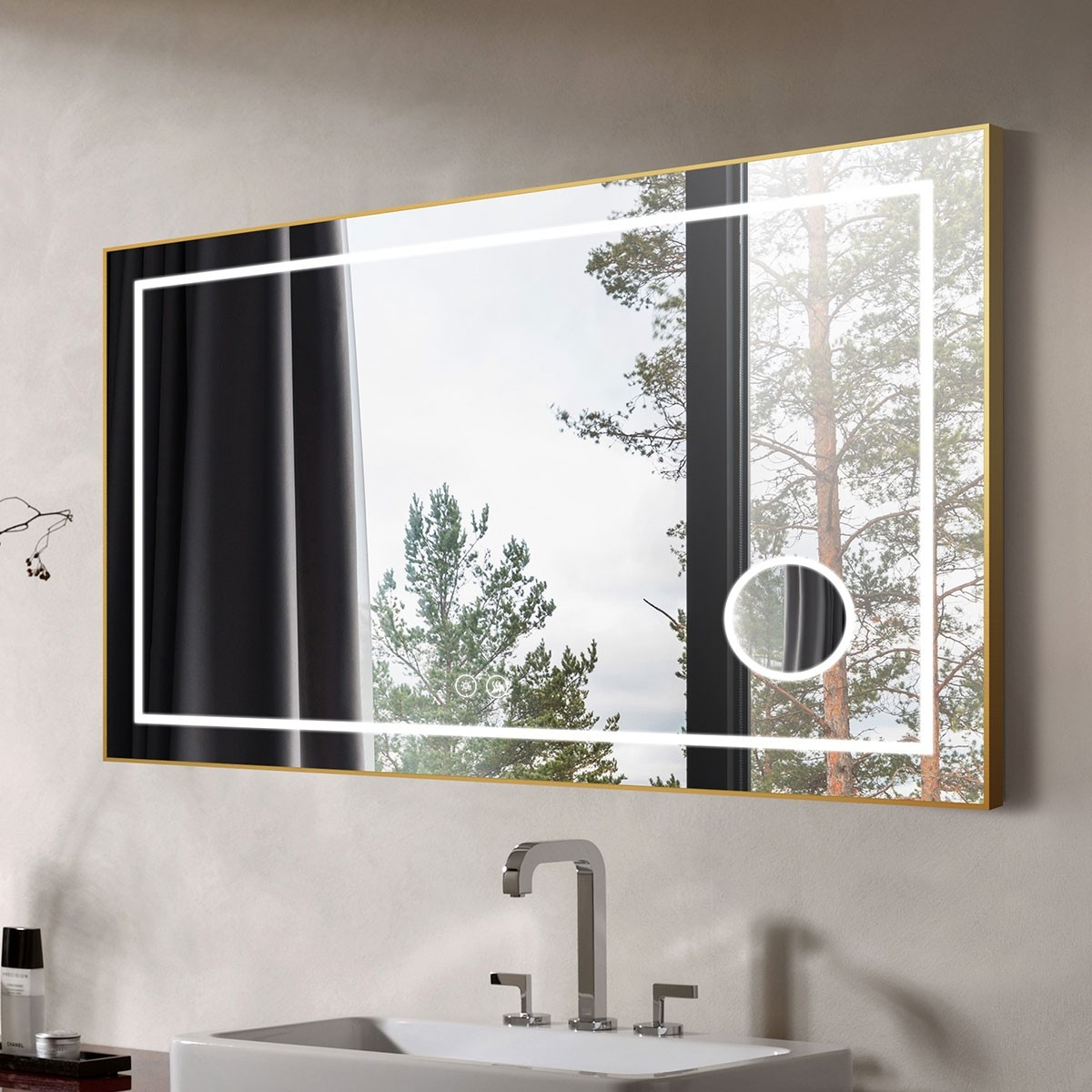 DECORAPORT 55 x 36 Inch LED Bathroom Mirror with Touch Button, Light Luxury Gold, Anti Fog, Dimmable, Bluetooth Speakers, Magnifier, Vertical & Horizontal Mount (D721-5536AC)