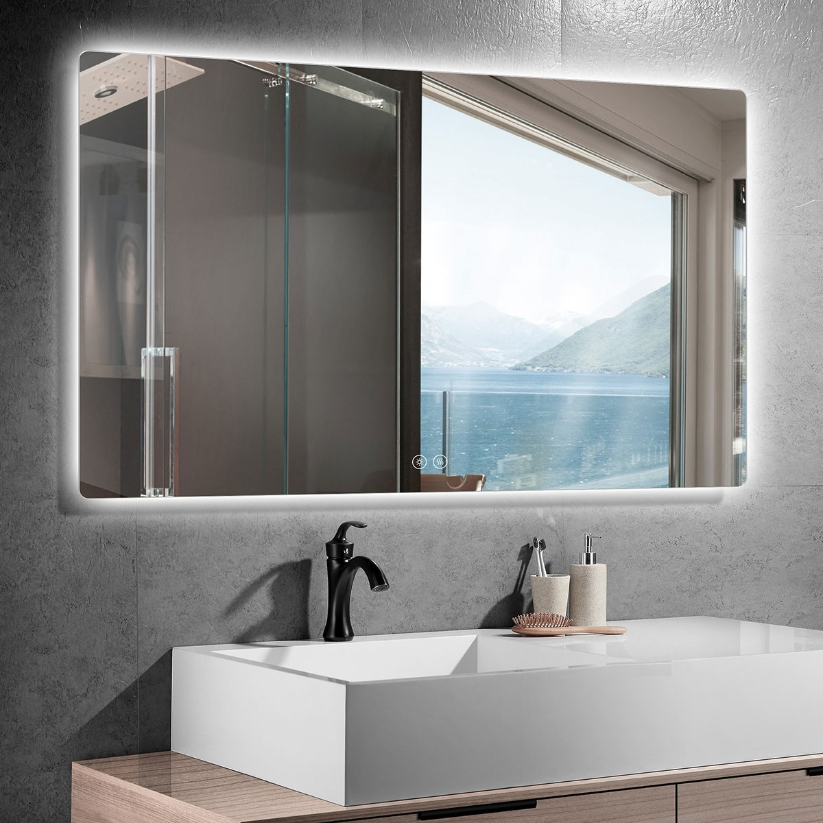 DECORAPORT 55 x 36 Inch LED Bathroom Mirror with Touch Button, Anti Fog, Dimmable, Bluetooth Speakers, Vertical & Horizontal Mount (AV1-5536)