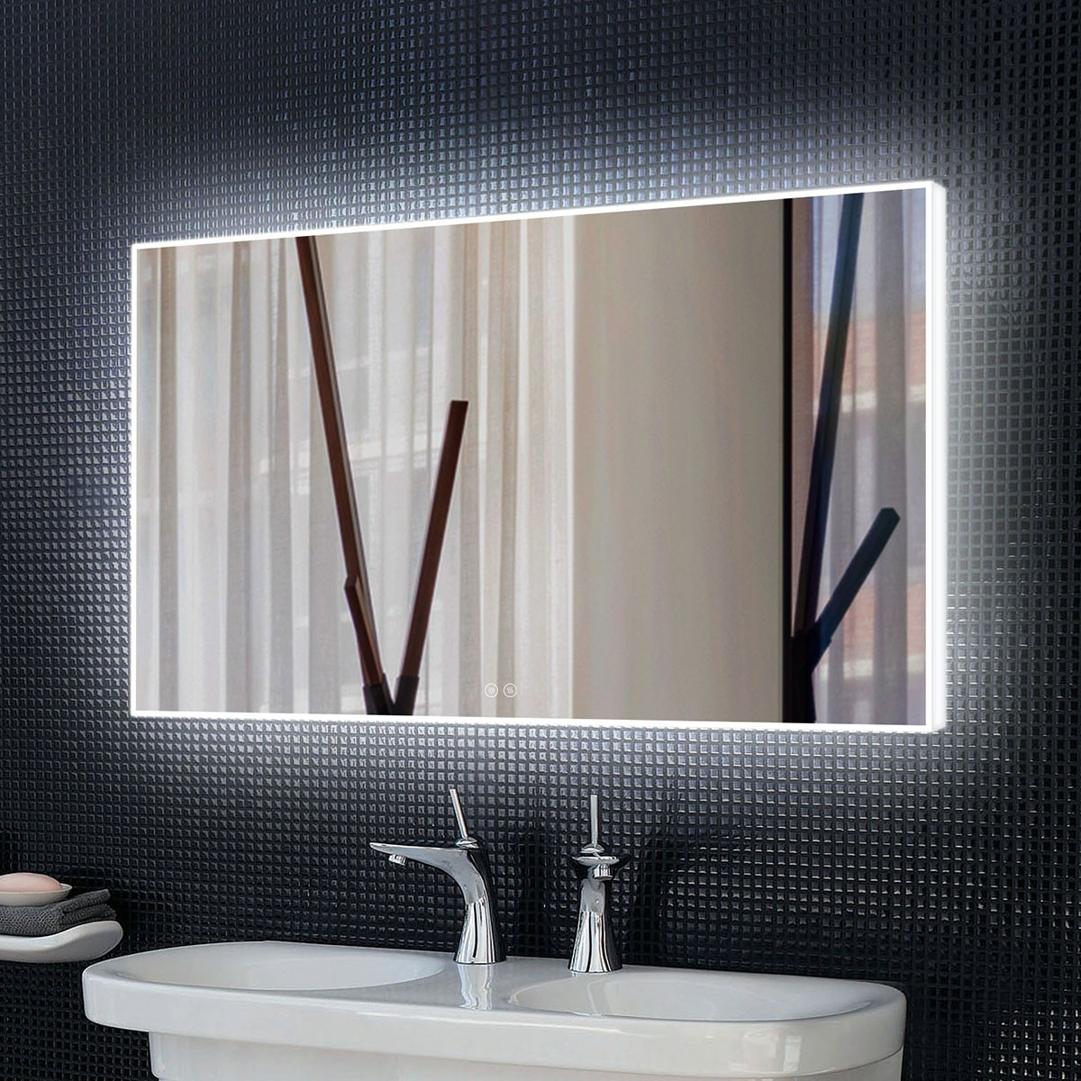 DECORAPORT 60 x 36 Inch LED Bathroom Mirror with Touch Button,Anti Fog, Dimmable, Bluetooth Speakers, Vertical & Horizontal Mount (D421-6036A)