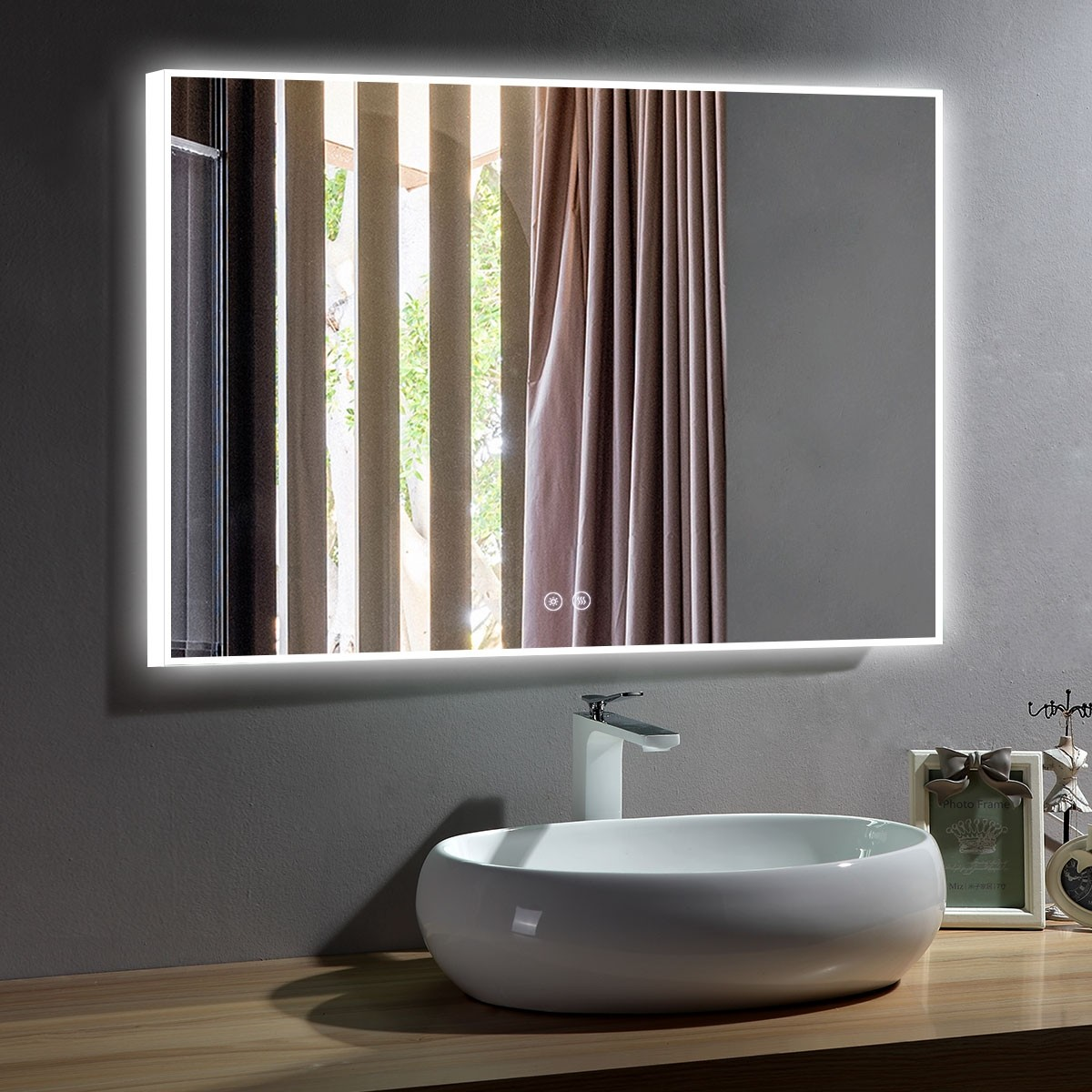 DECORAPORT 48 x 36 Inch LED Bathroom Mirror with Touch Button,Anti Fog, Dimmable, Bluetooth Speakers, Vertical & Horizontal Mount (D423-4836A)