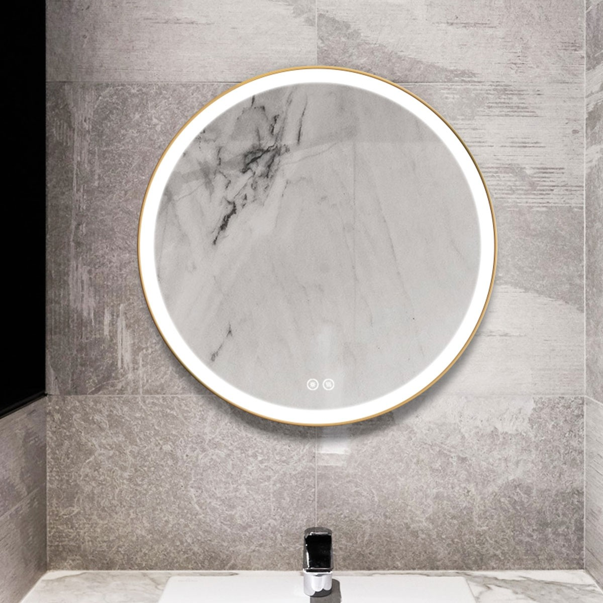 DECORAPORT 28 x 28 Inch LED Bathroom Mirror with Touch Button, Light Luxury Gold, Anti Fog, Dimmable, Vertical Mount (YA-2828-G)