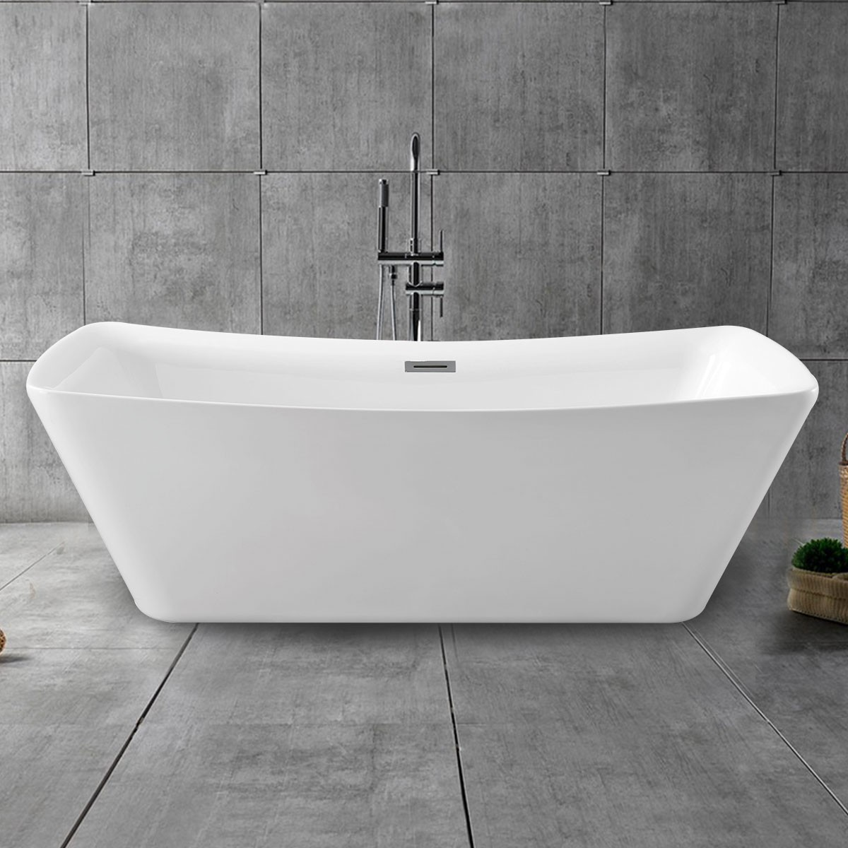 67 In Pure White Acrylic Freestanding Bathtub (DK-PW-4777)