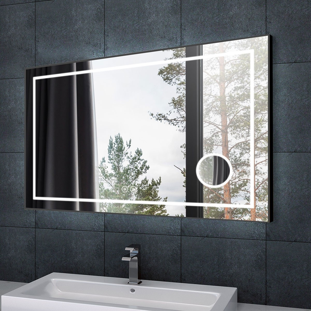 DECORAPORT 55 x 36 Inch LED Bathroom Mirror/Dress Mirror with Touch Button, Magnifier, Anti Fog, Dimmable, Bluetooth Speakers, Horizontal Mount (D623-5536AC)