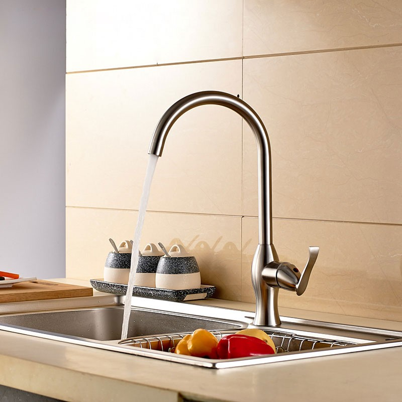 SUPOR Modern Style Stainless Steel Lead Free Kitchen Faucet (250107-01-LS)