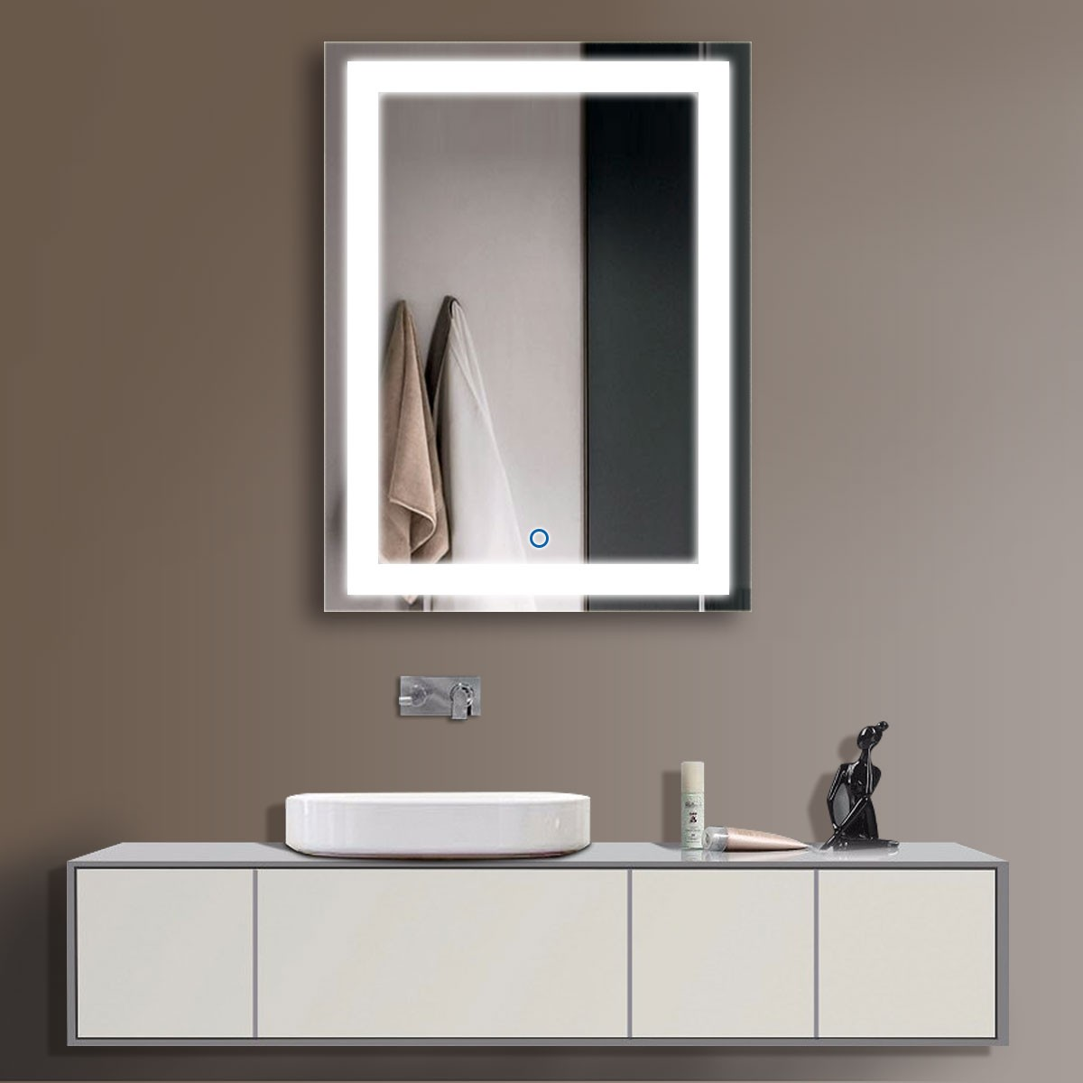24 x 32 In Vertical LED Illuminated Bathroom Mirror Touch