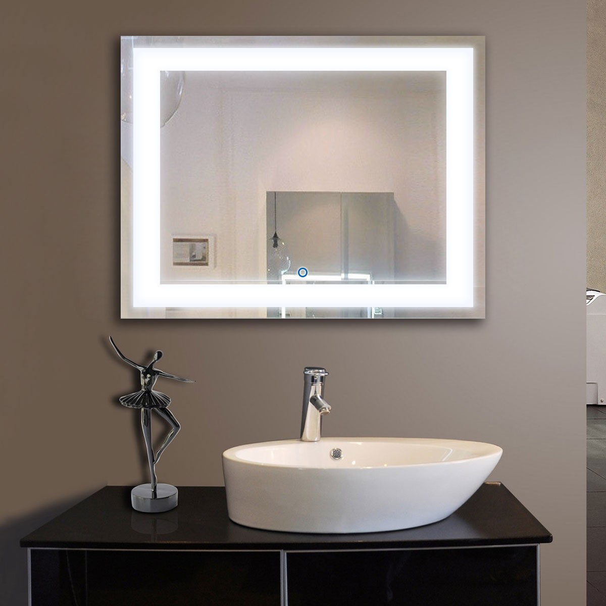 Bathroom Mirrors Made In Usa 36 x 28 in horizontal led mirror, touch button (dk-od-ck010-i