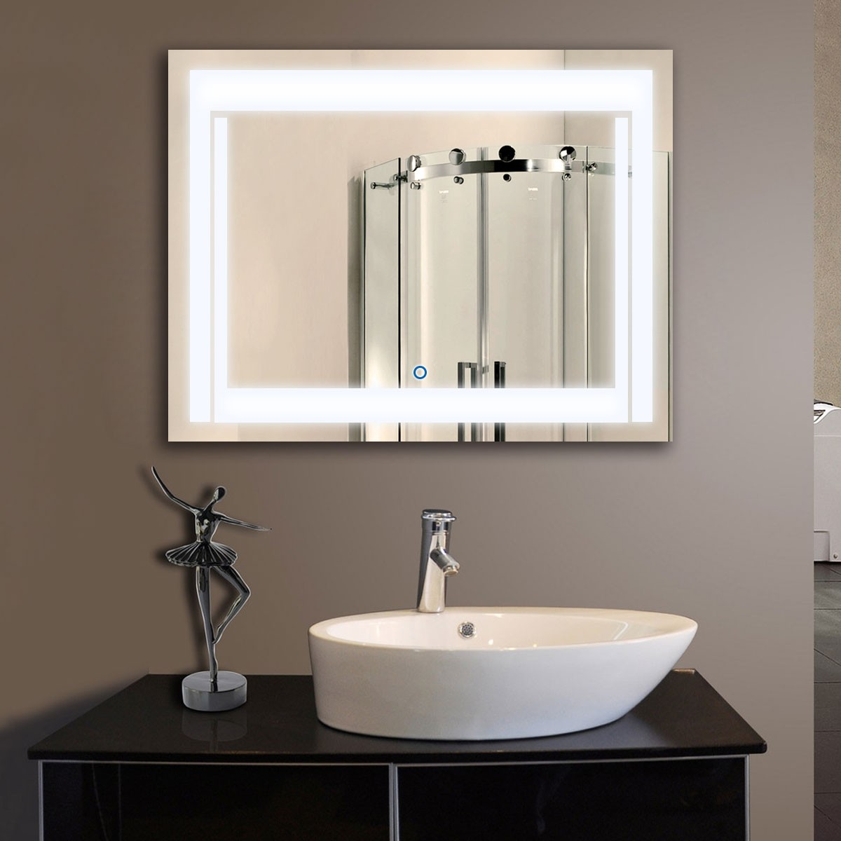 36 x 28 In Horizontal LED Backlit Bathroom Mirror, Touch Button (DK-OD-CK150-L)